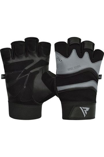 RDX Training Weight Lifting Gym Leather S15 GRAY Handschuhe