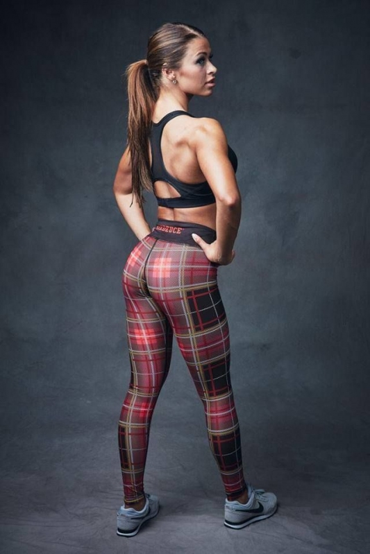 Six Deuce Red Tartan Fitness Legíny