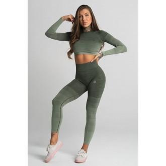 Gym Glamour Legíny Bezšvové Khaki Ombre