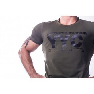 NEBBIA Atheltic Logo tričko 730 - Khaki