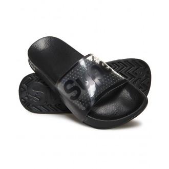 Superdry dámske šľapky POOL SLIDE - Priesvitné čierne