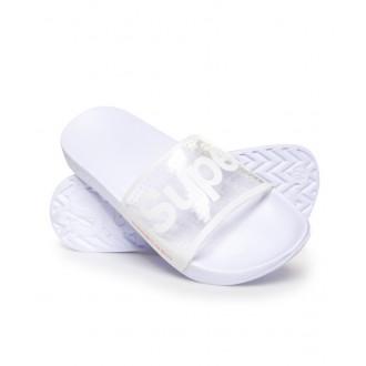 Superdry dámske šľapky POOL SLIDE - Priesvitné biele