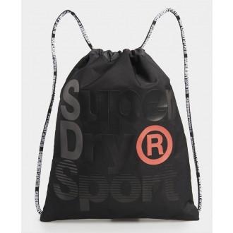 Superdry pánsky športový batoh Drawstring - Čierna