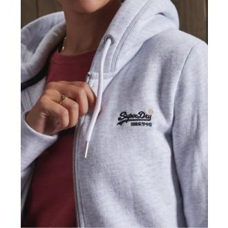 Superdry dámska mikina Label Zip - Svetlo sivá