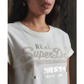 Superdry dámske tričko Luster - Krémová