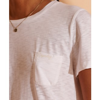 Superdry dámske tričko Scripted - Biela