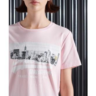 Superdry dámske tričko NYC Photo - Ružová