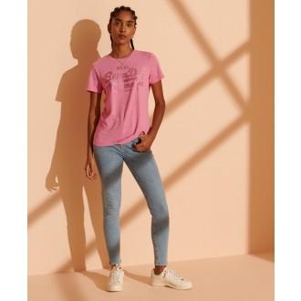Superdry dámske tričko Tonal Glitter - Ružová