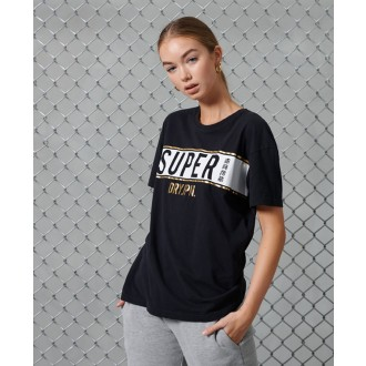 Superdry dámske tričko Panel - Čierna