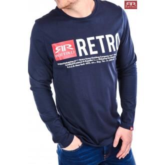Retrojeans pánske dlhorukávové tričko Ermin - Tmavomodrá