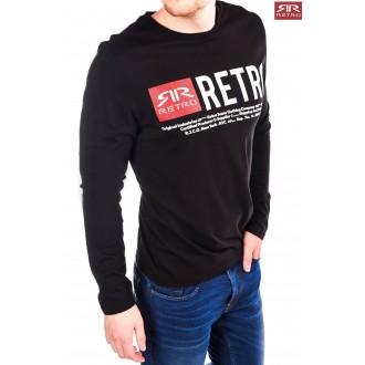 Retrojeans pánske dlhorukávové tričko Ermin - Čierna