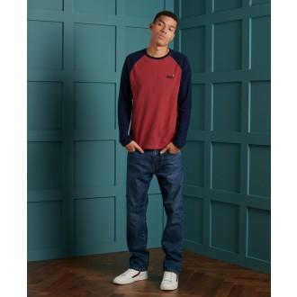 Superdry pánske dlhorukávové tričko Baseball - Červená