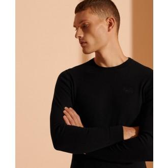 Superdry pánske dlhorukávové tričko Label - Čierne