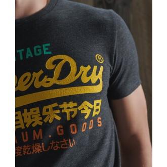 Superdry tričko Vintage Logo Tri - Tmavomodrá