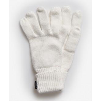Superdry dámske rukavice Heritage Ribbed - Krémové