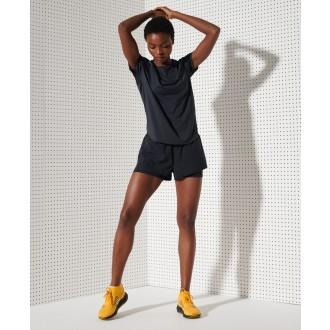 Superdry dámske športové šortky Layer - Čierne
