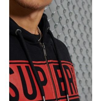 Pánska mikina Superdry Panel Fleece Zip - Čierna