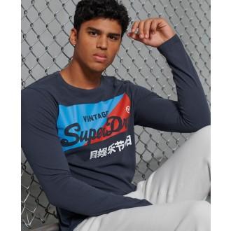 Superdry pánske dlhorukávové tričko  Primary - Námornícka