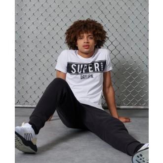 Superdry pánske tričko SDRY Panel - Biele