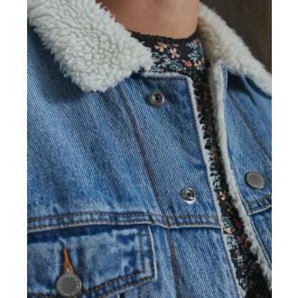 Superdry dámska rifľová bunda Boyfriend Sherpa - Modrá