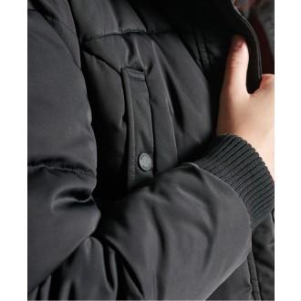 Superdry dámsky zimný kabát Longline Chinook - Čierny