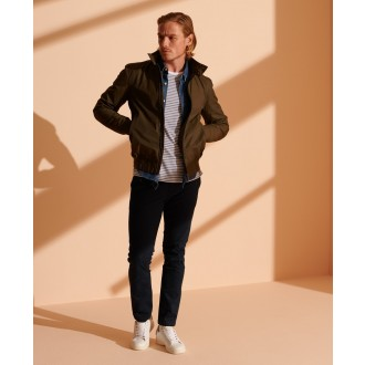 Superdry pánske nohavice Core Slim Chino - Námornícka modrá