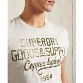 Superdry pánske tričko Workwear Graphic Lightweight - Béžová