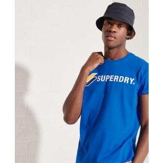 Superdry pánske tričko Sportstyle Applique - Modrá