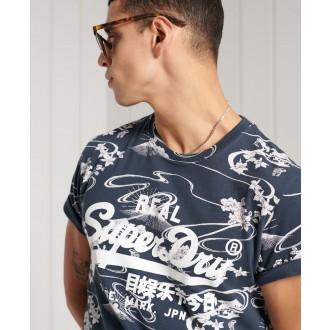 Superdry pánske tričko Vintage Logo All Over Print - Námornícka modrá