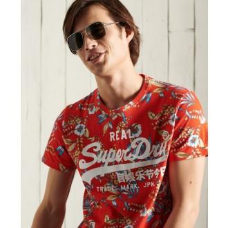 Superdry pánske tričko Vintage Logo All Over Print - Červená