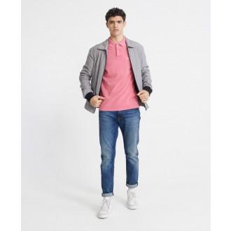 Superdry pánske tričko Organic Cotton Vintage Destroyed Pique Polo - Ružová