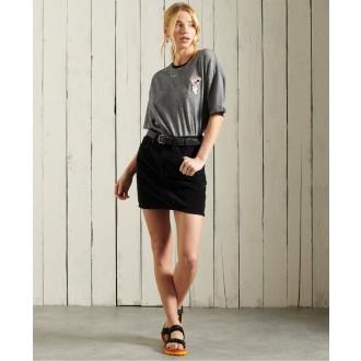 Superdry dámske tričko Military Narrative Boxy - Tmavosivá