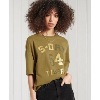 Superdry dámske tričko Military Narrative Boxy - Kaki