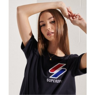 Superdry dámske tričko Sportstyle Chenille - Tmavomodrá
