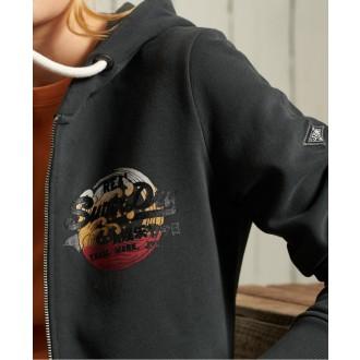 Superdry dámska mikina Vintage Logo Itago Zip Brushed - Čierna