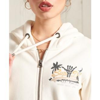 Superdry dámska mikina Vintage Logo Itago Zip Brushed - Krémová
