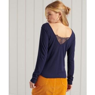 Superdry dámske tričko Lace Back - Tmavomodrá