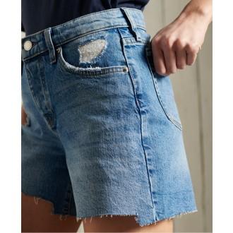 Superdry dámske riflové krátke nohavice Mid Rise Slim - Svetlomodrá