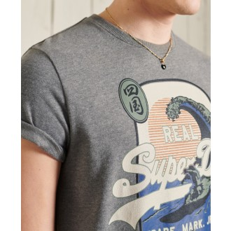Superdry pánske tričko Standard weight Vintage Logo Itago - Tmavosivá