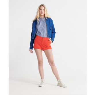 Superdry dámske krátke nohavice Chino Hot - Červená