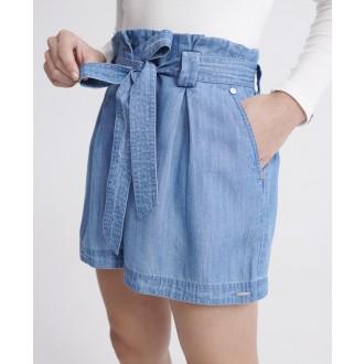 Superdry dámske krátke nohavice Desert Paperbag - Svetlomodrá