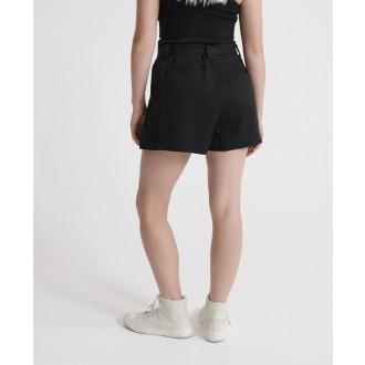 Superdry dámske krátke nohavice Desert Paperbag - Čierna