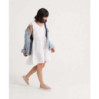 Superdry dámske šaty Tinsley Tiered - Biela