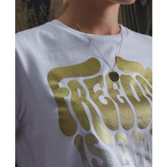 Superdry dámske tričko Military Narrative - Biela