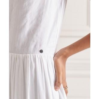 Superdry dámske šaty Textured Day - Biela