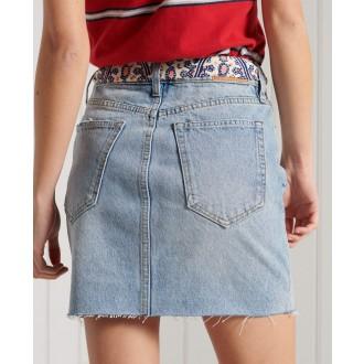 Superdry dámska riflová sukňa Denim Mini - Svetlomodrá