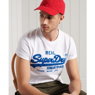 Superdry pánske tričko Vintage Logo Chenille Standard Weight - Biela