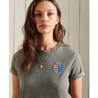 Superdry dámske tričko Military Narrative - Tmavosivá