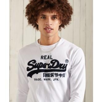 Superdry pánske dlhorukávové tričko Vintage Logo Chenille - Biela