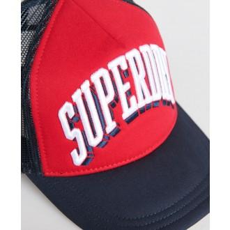 Superdry pánska šiltovka Sport Tri Logo Trucker - Červená